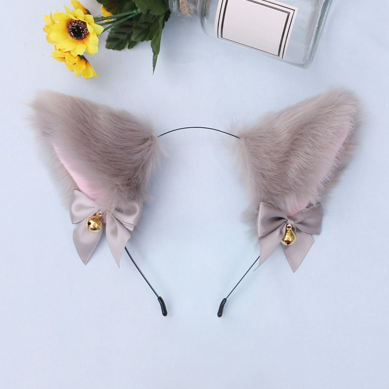 15 Colors Beautiful Masquerade Halloween Cat Ears Cosplay Cat Ear Party Costume Bow Tie Bell Headwear Headband Hair Accessories